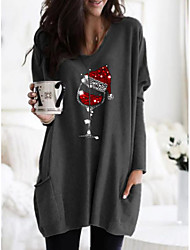 cheap -Women's Shift Dress Short Mini Dress - Long Sleeve Print Print Fall Casual Christmas 2020 Black Blue Khaki Gray S M L XL XXL 3XL