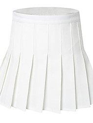 cheap -women high waist solid pleated plus size single tennis skirts white xl