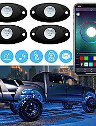 cheap -led rgb rock lights underglow neon lighting kit with app remote control waterproof for truck off road jeep suv rzr utv, 2 year warranty