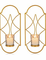 cheap -metal wall sconce candle holder decor set of 2 wall mounted candle sconces holders with glass, candle sconces holder for wall, home wall art for living room fireplace yard pathway, gold