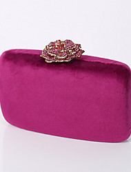 cheap -Women's Bags Polyester Velvet Evening Bag Crystals Chain Solid Colored Plain Party Wedding Evening Bag Handbags Chain Bag Black Yellow Blushing Pink Fuchsia
