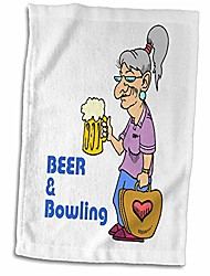 cheap -3d rose funny beer and bowling grandma design hand/sports towel, 15 x 22