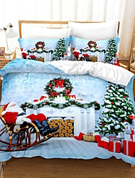 cheap -Christmas Gift Print 3-Piece Duvet Cover Set Hotel Bedding Sets Comforter Cover with Soft Lightweight Microfiber For Holiday Decoration(Include 1 Duvet Cover and 1or 2 Pillowcases)