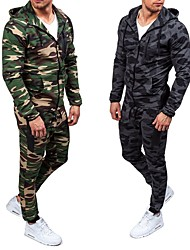 cheap -Men's Hoodie Outdoor Windproof Breathability Soft Thick Spring Fall Winter Camo / Camouflage Clothing Suit Polyester Camping / Hiking Hunting Fishing Army Green Grey / 2pcs