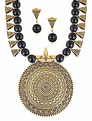 cheap -indian oxidized colored pearl beaded tribal disk necklace set traditional jewelry for womens (2542black)
