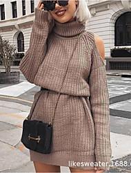 cheap -Women's Sweater Jumper Dress Short Mini Dress Black Blushing Pink Khaki Gray Long Sleeve Solid Color Lace up Fall Winter Turtleneck Casual 2021 S M L XL XXL