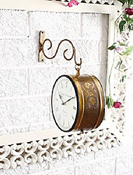 cheap -brass finish antique style round hanging wall mount home decor double side wall clock creative classic clocks (10 inches)