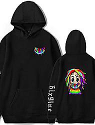 cheap -girls 6ix9ine hoodies shark for women tekashi 69 gooba hooded sweatshirt pullover top with pocket, black 15580/xxs