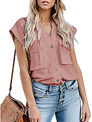 cheap -womens cap sleeves blouses chiffon tank shirts button pockets v-neck loose fit casual sleeveless top pink