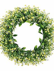 "cheap -16"" artificial gypsophila wreath floral wreath greenery wreath front door wall window farmhouse wreath home wedding indoor outdoor decoration"