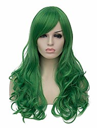 cheap -women's green wigs  long curly wigs with side bangs for cosplay halloween party (m, dark green)