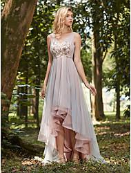 cheap -V Neck Asymmetrical Tulle Bridesmaid Dress with Appliques