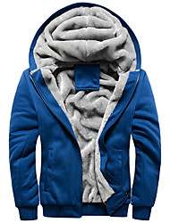 cheap -mens sherpa lined full zip fleece hoodie jacket coat, black, large