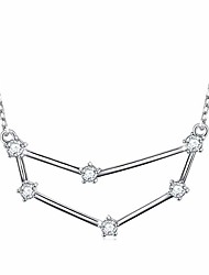 """cheap -constellation necklace 925 sterling silver cz horoscope zodiac constellation pendant necklace for women,18"""" (capricorn)"""