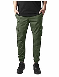 cheap -men's jogger casual pants tapered fit sfe stretch multi pockets tapered leg elastic waist drawstring mechanical trouser green
