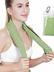 """cheap -cooling towel, 1 pack cool neck wrap towels (40""""x 12"""") for heat,ice towels stay cool for workout,gym,fitness,golf,yoga,camping,hiking,travel,camping & running (blue)"""