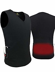 cheap -slim-fit heated vest winter base layer top temperature and time adjustable with usb battery, l(unisex style) black