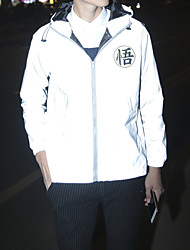 cheap -Men's Zipper Hooded Jacket Regular Print Daily Print Long Sleeve Gray S M L XL