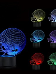 cheap -Football Helnet Night Light Color Changing 3D Night Light LED Illusion with USB cable Christmas Gift Idea for Kids or Sports Fan Bedside Lamp World Cup Home Decor