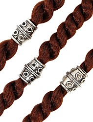 cheap -12PCS Diy Alloy Wig Jewelry Set Dreadbraided Dragon Grain Coil With Large Hole Alloy Ancient Silver Bend Hair Accessories Beaded Accessories