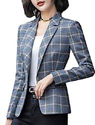 cheap -women's wool and warm regular fit plaid chunky short blazer 1 2xl