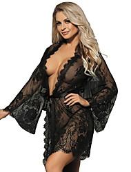 cheap -Women's Lace Plus Size Robes Nightwear Solid Colored White / Black / Blue M XL 3XL