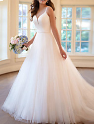 cheap -A-Line Wedding Dresses V Neck Sweep / Brush Train Tulle Charmeuse Spaghetti Strap with Draping Appliques 2021