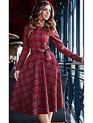 cheap -Women's Swing Dress Knee Length Dress - Long Sleeve Houndstooth Tie Dye Patchwork Print Spring Fall Work Casual 2021 Red S M L XL XXL