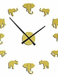 cheap -large diy elephant wall clock mirror effect wall clock 47 inch giant frameless elephant clock 3d wall watch home decor modern design hanging wall art (gold)