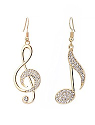 cheap -music note drop earrings for girls women - cz clear crystal musical fans clip on hook earring, stone fashion costume jewelry