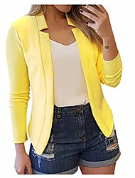 cheap -womens casual jacket casual work blazer office jacket slim fit blazer for business lady(yellow,l4)