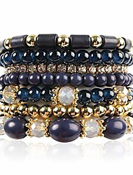 cheap -multi layer bead bracelet - colorful stacking beaded strand stretch cuff statement bangles set (navy)