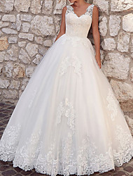cheap -Ball Gown Wedding Dresses V Neck Floor Length Lace Tulle Sleeveless Country with Appliques 2021