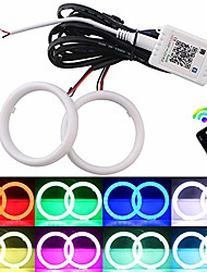 cheap -everbrightt 1 set 80mm rgb angel eyes led halo rings for car headlight lamp daytime running light cob chips multil-color circle ring mobile app control with pvc housing dc 12v