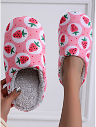 cheap -Women's Slippers & Flip-Flops Fuzzy Slippers Indoor Slippers Flat Heel Round Toe Casual Sweet Home Polyester Floral Winter Pink Light Blue