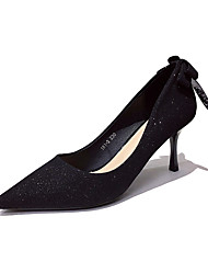 cheap -Women's Heels Stiletto Heel Pointed Toe Classic Daily Synthetics Solid Colored Black Champagne / 2-3