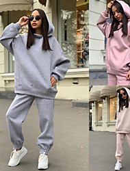 cheap -Women's 2 Piece Tracksuit Sweatsuit Street Athleisure 2pcs Long Sleeve Breathable Soft Fitness Gym Workout Running Jogging Training Sportswear Oversized Solid Colored Hoodie White Black Purple Pink