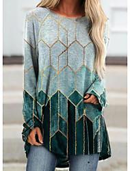 cheap -Women's T Shirt Dress Tee Dress Short Mini Dress - Long Sleeve Print Patchwork Print Fall Plus Size Casual Loose 2020 Purple Green Gray S M L XL XXL 3XL 4XL 5XL