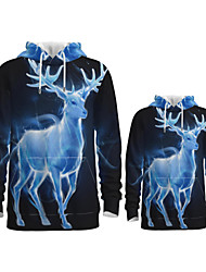 cheap -Family Look Active Santa Claus Graphic optical illusion Animal Print Long Sleeve Regular Hoodie & Sweatshirt Blue