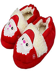 cheap -little kids boys plush lining slippers cute santa rubber hard sole size 10-11 us santa claus red