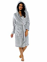 cheap -womens soft plush flannel robes long hooded bathrobes, plus size big and tall, s-5xl dark gray