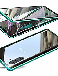 cheap -magnetic adsorption case for samsung galaxy note 10, 360 degree front and back clear tempered glass flip cover, metal bumper frame for samsung galaxy note 10 (green)