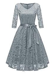 cheap -women vintage princess floral lace cocktail v-neck party aline swing dress gray