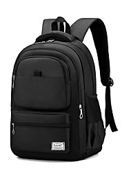 cheap -Women's Unisex Oxford Cloth Special Material School Bag Commuter Backpack Large Capacity Waterproof Zipper Solid Color Sports & Outdoor Daily Backpack Black Blue Red Gray Silver