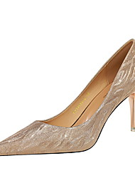 cheap -Women's Heels Stiletto Heel Pointed Toe Classic Daily PU Sequin Solid Colored Champagne Silver / 2-3