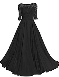 cheap -mother of the bride dress lace applique formal evening gowns half sleeve prom dresses for women chiffon black us2