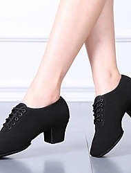 cheap -Women's Dance Shoes Latin Shoes Heel Thick Heel Black Lace-up Adults