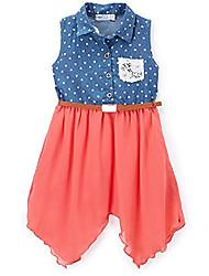 cheap -girl's heart pattern top chiffon dress - coral - 14
