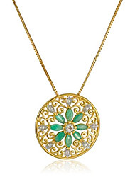 cheap -18k yellow gold-plated sterling silver mandala genuine emerald filigree pendant necklace, 18""