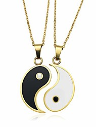 cheap -stainless steel best friend puzzle pendant 2 piece mens womens friendship yin yang ucklace pendant couples necklace friendship necklace yin and yang heart necklac (gold)